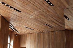 wood beads vertical lining false ceiling
