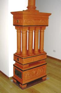 terracotta wood stove
