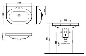 Installare il lavabo come si monta un lavandino a parete o - Misure attacchi idraulici bagno ...