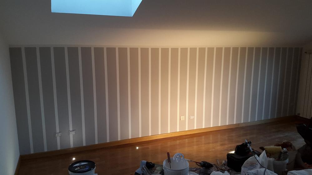 Pareti A Righe Grigie : Parete a righe come realizzare un decoro a parete imbianchino